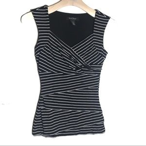 WHBM black and white sleeveless striped top  XXS